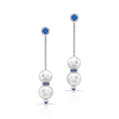 Pearls And Sapphire Earrings