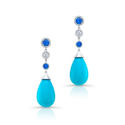 Blue Moon Stones With Blue Sapphire Diamond Earrings