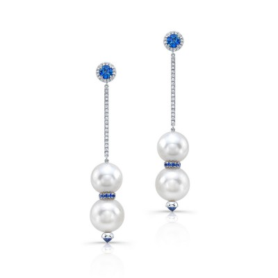 Double Pearl with Blue Sapphire Dangle Earrings