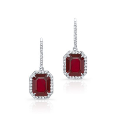 Emerald Cut Ruby Earrings