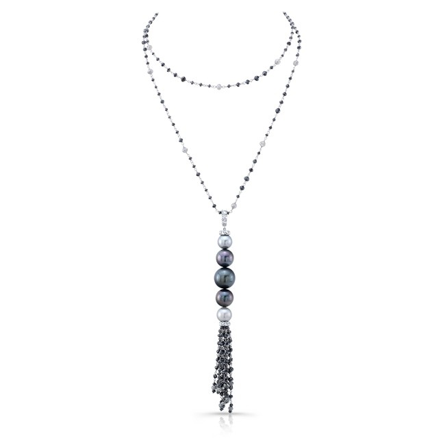 Pearl and Diamond Tassel Necklace