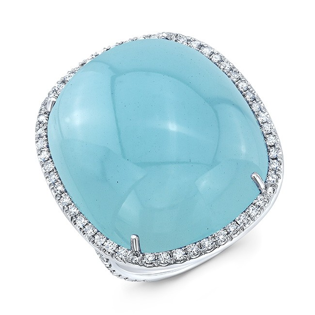Cabochon Aquamarine And Diamond Ring