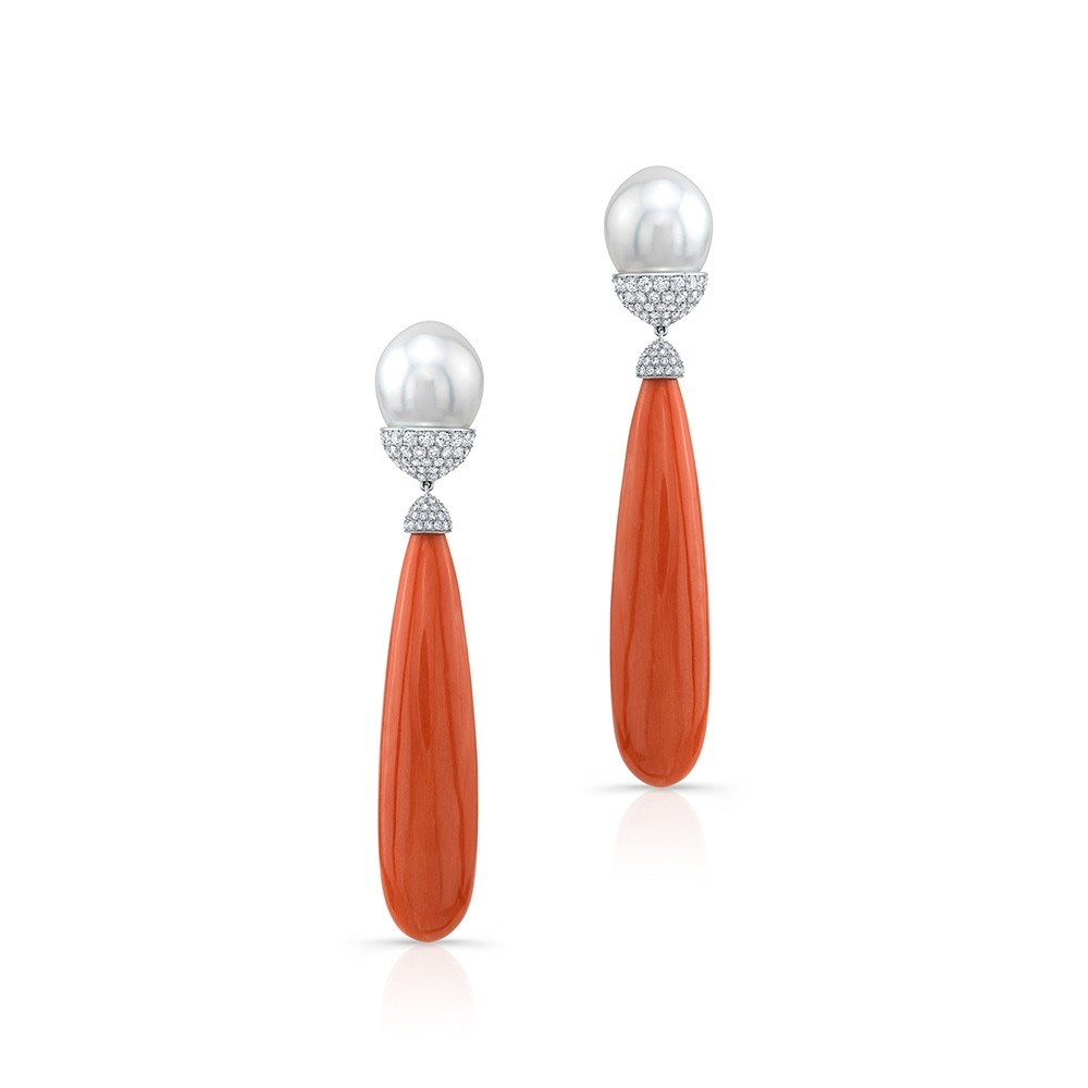 South Sea Pearl, Italian Coral and Diamonds
