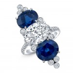 Oval Diamond and Blue Sapphire Fashion Ring