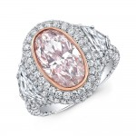 Pink Oval Diamond Halo Fashion Ring