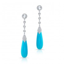 Turquoise and Diamond Earrings