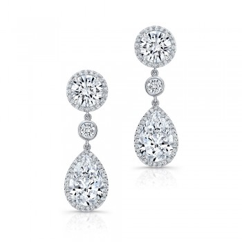 Pear And Round Cut Diamond Earrings